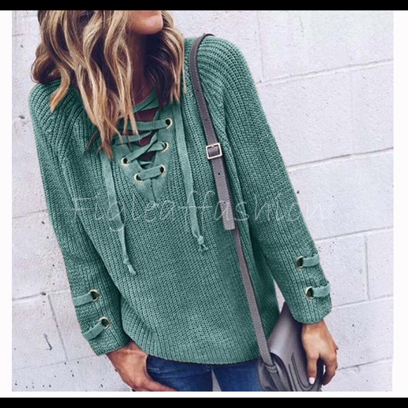 Private Label Sweaters - ❇️❇️NEW❇️❇️Cozy Lace-up Sage Green Seater